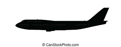 Single large aircraft silhouette, black and grey isolated on white background.