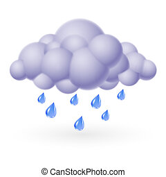 Single weather icon - Bubble Cloud with Rain