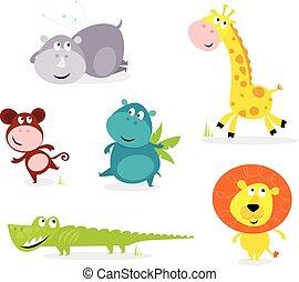 Six cute safari animals - giraffe,