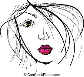 Sketch of beautiful woman face. Vector illustration