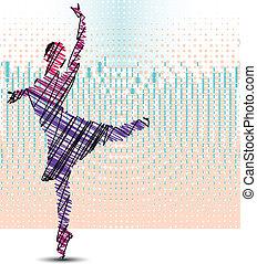 Sketch of dancing ballerina. Vector illustration