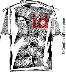 sketch of id tee. Vector illustration