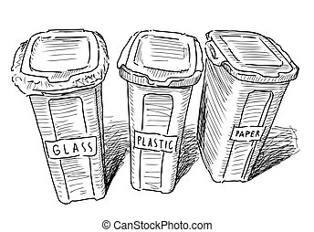Sketch of trash cans with sorting on paper, plastic and glass