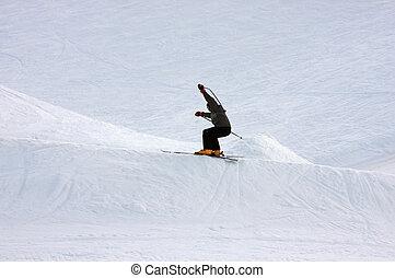 Skier jumping; Broken stick.