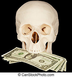 Skull clutched in teeth bunch of money