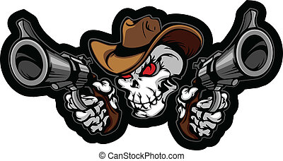 Graphic Image of a Cowboy Skull Shooting Pistols