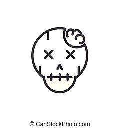 skull monster trick or treat happy halloween line style