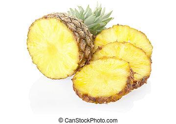 Sliced pineapple on white