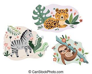 Sloth, jaguar, zebra vectors