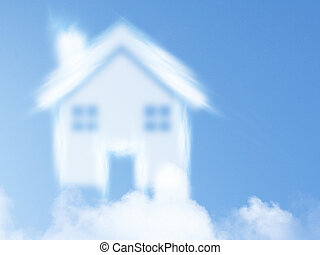small house from clouds, Dream of homeownership