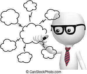 Smart IT programmer drawing cloud computing technology plan diagram