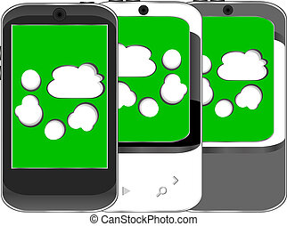 Smart phone set with cloud computing symbol on a screen
