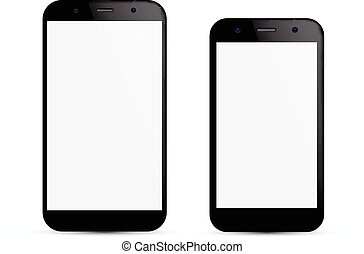 Vector illustration of two black modern realistic smartphones with empty white screen. Eps10.