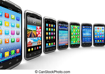 Mobility and wireless telecommunication concept: group of modern black glossy touchscreen smartphones with colorful mobile application interfaces with color icons and buttons isolated on white background Design is my own and all text labels are fully abstract