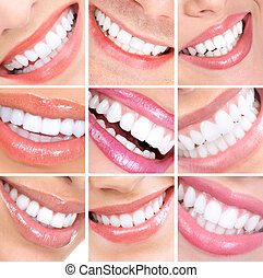 Smiling woman mouth with healthy teeth. Collage.