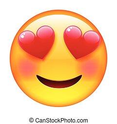 Smile in Love Emoticon. Emoji in Love.