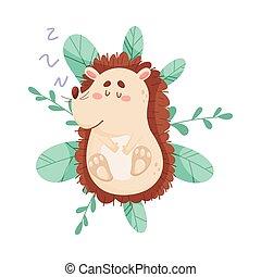 Smiling Hedgehog Character Sleeping On the Bush Vector Illustration