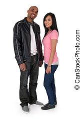 Smiling interracial couple