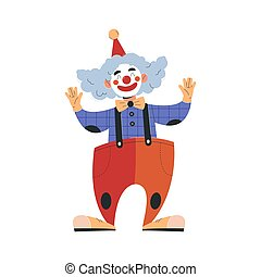 Smiling male clown in colorful costume working in circus. Concept of circus characters doing tricks and stunts for children, adults. Positive clown cheering up people. Flat cartoon vector illustration
