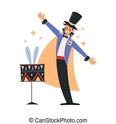 Smiling male magician in colorful costume working in circus. Concept of circus characters doing tricks and stunts for children, adults. Positive magician with tricks. Flat cartoon vector illustration