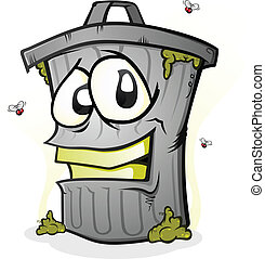 Smiling Trash Can Cartoon Character