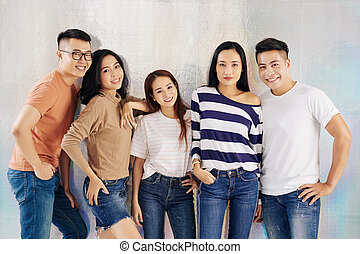 Smiling young Vietnamese models