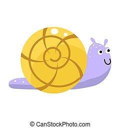 Snail cute cartoon vector illustration isolated.