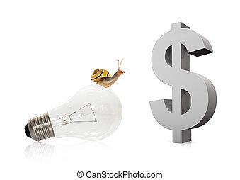 Snail On Bulb Dollar