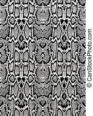 Snake python skin texture. Seamless pattern black on white background.