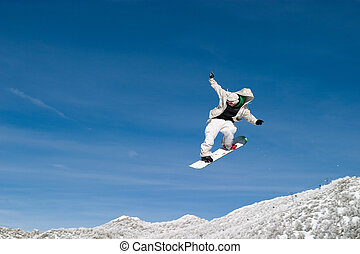 Snow Boarder High in the Air Zoom