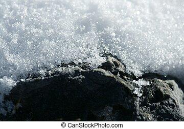 Snow macro detail. Iced white texture