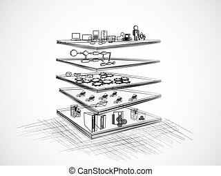 Vector Illustration of SOA with different layer components like Presentation, business process, Service component, message and legacy, enterprise application layer sketch, pencil drawing