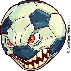 Soccer Ball Mean Face Sharp Teeth