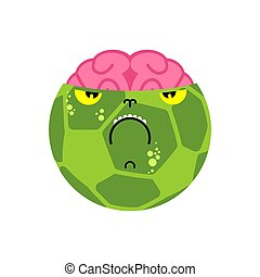 Soccer ball Zombie isolated. Green dead ball and brain. vector illustration