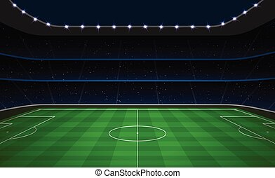 Soccer football stadium with green field.