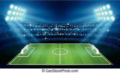Soccer stadium with empty football field and spotlights vector illustration