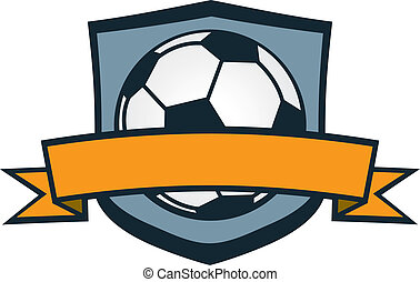 Soccer ball crest with blank banner.
