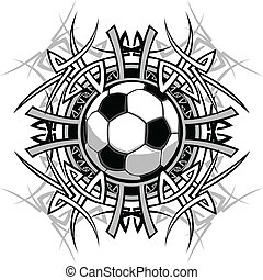 Graphic of a Soccer Ball with Tribal Borders