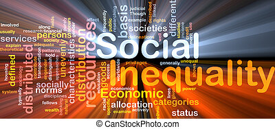 Social inequality wordcloud concept illustration glowing