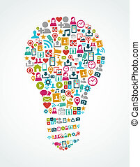Isolated colorful social media icons idea light bulb shape composition. EPS10 vector file organized in layers for easy editing.