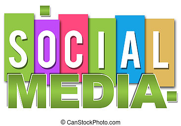 Social Media text over different colourful blocks.