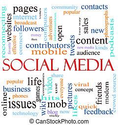 Social Media word concept illustration
