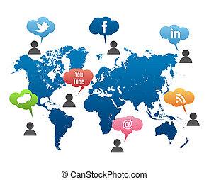 Social Media World Map Vector