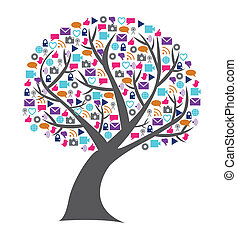 Social technology and media tree filled with networking icons