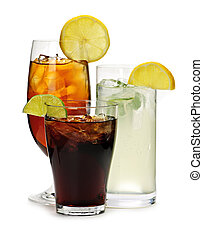 Group of three soft drinks in various glasses with garnish