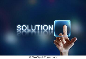 Hand pressing virtual solution button