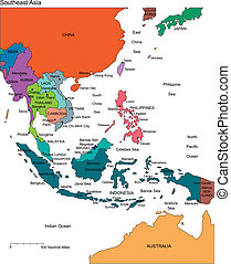 Southeast Asia Regional Map with individual Countries, Editable Color, names. Perfect for Sales and Marketing Presentations. Countries are individual objects that can be colored and changed so you can build a regional territory map or develop an illustration. Great for building sales and marketing ...