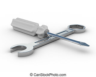 spanner and screwdriver on white background. Isolated 3D image