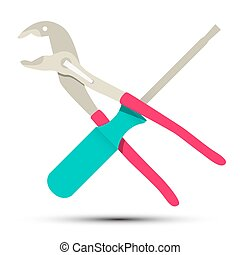Spanner and Screwdriver Tools Vector Isolated on White Background