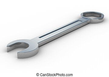 spanner on white background. Isolated 3D image